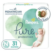 Pampers Pure Protection Natural Newborn Diapers, Size N, 31 Ct