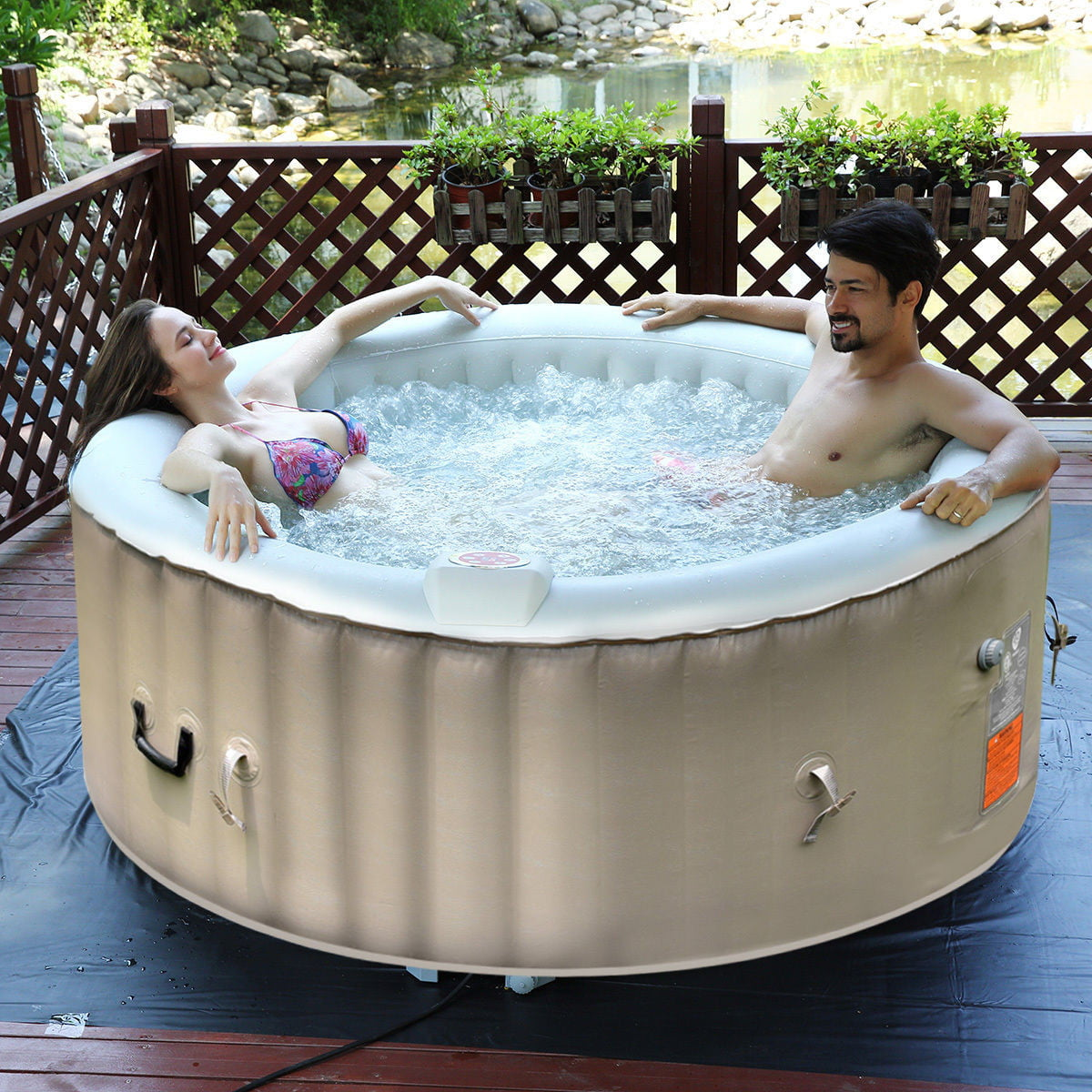Portable Inflatable Bubble Massage Spa Hot Tub 4 Person Relaxing Outdoor White by