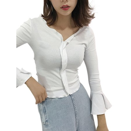 7b69c8c941 EFINNY - EFINNY Sexy Women V-neck Long Ruffle Sleeve Slim Shirts ...