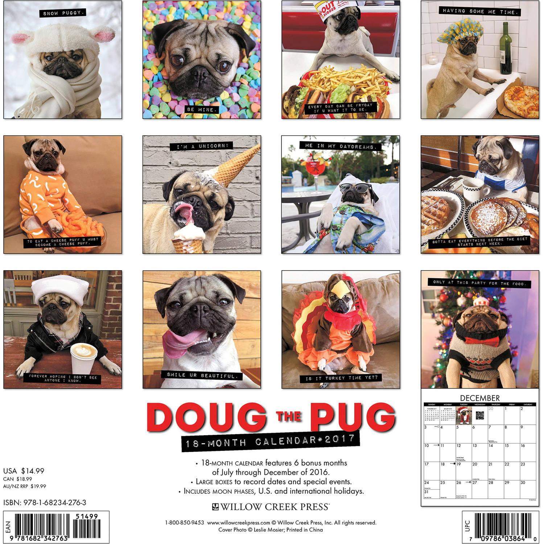 2017 Doug The Pug Wall Calendar