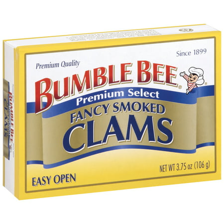 (3 Pack) Bumble Bee Smoked Clams, Clams, Canned Food, High Protein Snack, 3.75oz (Fighting Clam)
