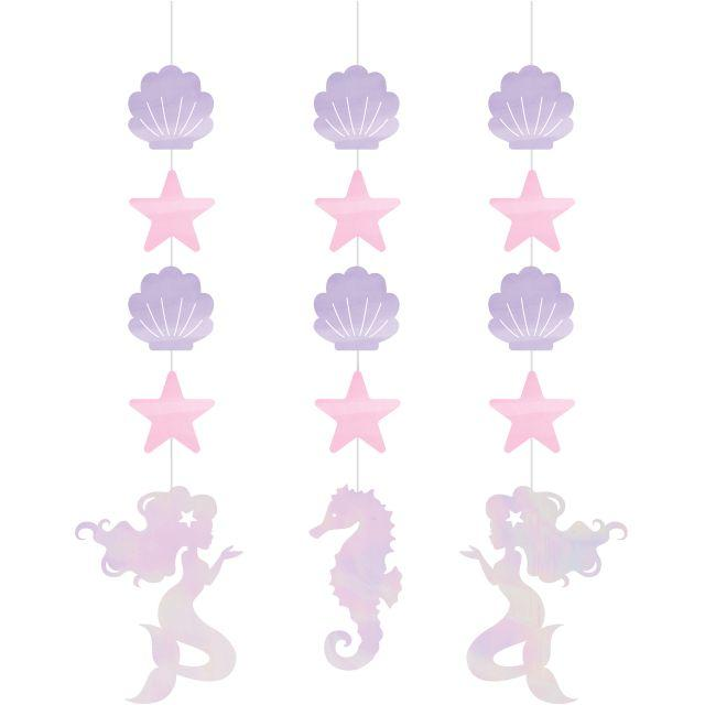 Creative Converting Iridescent Mermaid Party Hanging Cutouts, 3 ct
