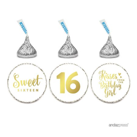 Chocolate Drop Labels Trio, Fits Hershey's Kisses, Sweet 16 Birthday, Metallic Gold Ink, 216-Pack