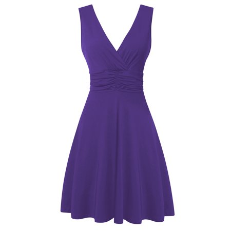 HiQueen Women's Ruched Waist V-neck Sleeveless Comfortable Casual Dress Purple S Banded Waist V-neck Dress