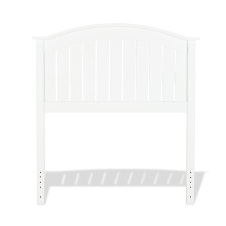 - Finley Wood Headboard with Curved Rail and Slatted Grill, Twin, White