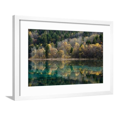 Jiuzhaigou on the Edge of the Tibetan Plateau, known for its Waterfalls and Colourful Lakes Framed Print Wall Art By Alex Treadway