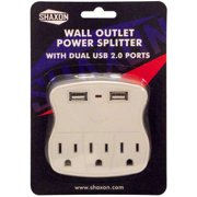 Shaxon Wall Outlet Power Splitter with 2 USB Ports 2.4A Combined and 3 AC, White