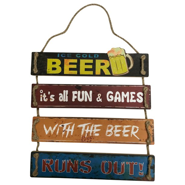 $$$Best Price, 22232 Must Have Bar Sign: Ice Cold Beer: It's all FUN & GAMES; With The Beer; Runs Out! Solid Wood Frame. Home, Shop, Bar, Store Decoration