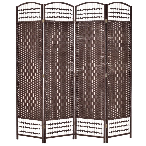 Hinged Room Dividers : Costway  folding woven room divider hinged panel