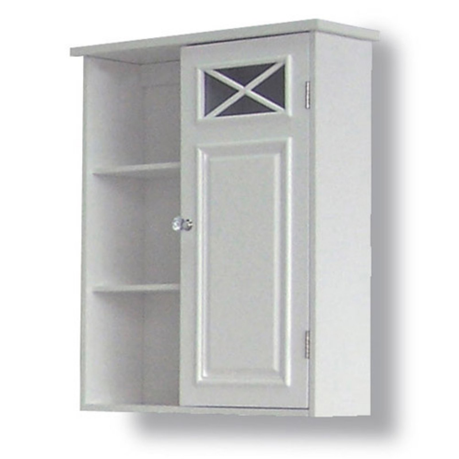 Prairie Wall Cabinet with Side Shelves and Door, White