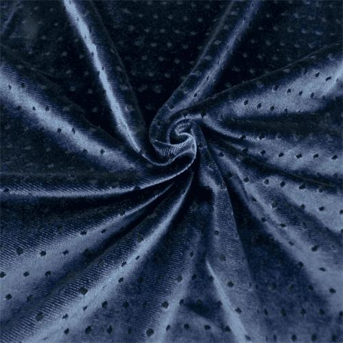 Indigo Blue Dot Burnout Stretch Velvet, Fabric By the Yard