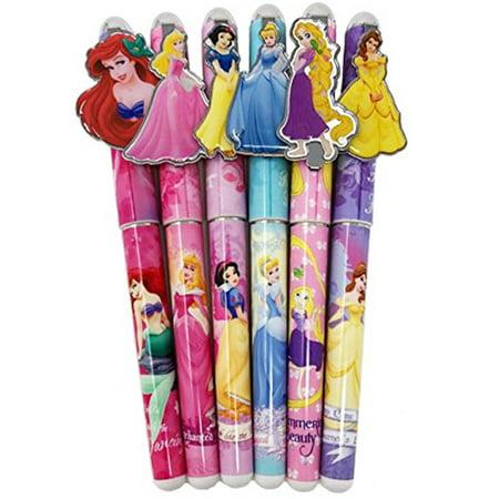 Disney Princess 6 Pens Snow White, Cinderella, Belle, Ariel, Rapunzel, Aurora - Belle And Snow White