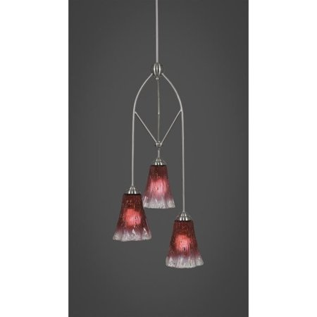 Toltec Lighting 29-BN-726 Contempo 3 Light Multi Light Mini Pendant With Hang Straight Swivel Shown In Brushed Nickel With 5.5 Inch Fluted Raspberry Crystal (Hang Pendant Lighting)