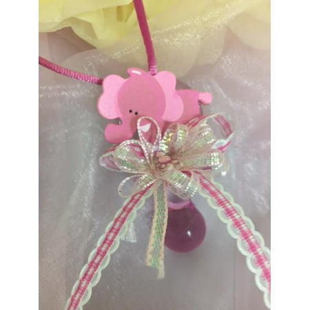 CHARMED Elephant Pacifier Necklaces Baby Shower Games Favors Prizes Pink Baby Girl's Cute and Adorable 12PC](Cute Cheap Necklaces)