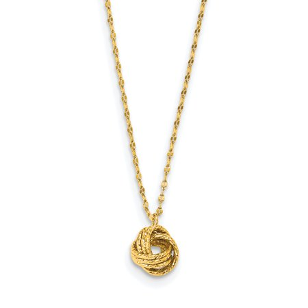 14k Gold Diamond Love Knot - 14K Yellow Gold Plated Diamond-Cut Love Knot Necklace