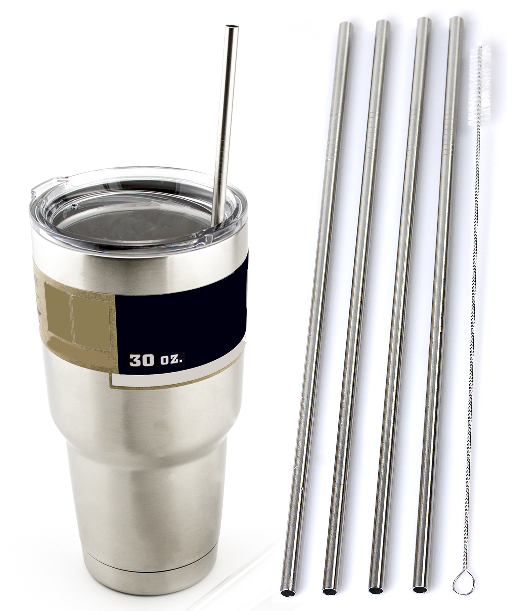 """4 LONG 10.5"""" Stainless Steel Straws fits 30 oz Yeti Tumbler Rambler Cups CocoStraw Brand Drinking Straw... by CocoStraw"""