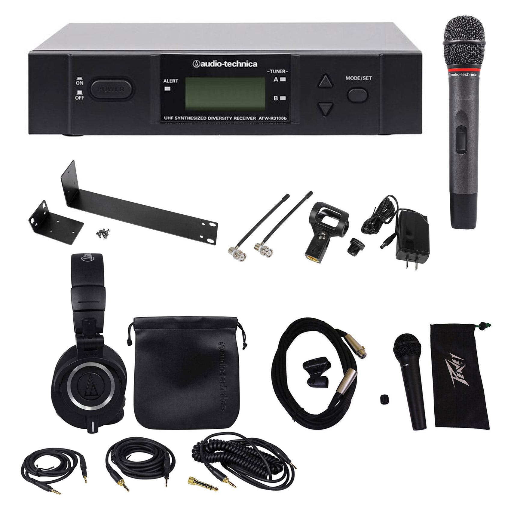 Audio Technica ATW-3141BC UHF Wireless Handheld Microphone+Headphones+Extra Mic by Audio Technica
