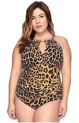 New  9272-2 Ralph Lauren Women's Leopard Hi Neck Mio 1-Piece Brown Swimsuit 20W, $106