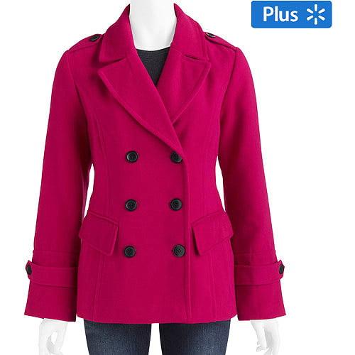 0bea8e34468 ONLINE - Women s Plus-Size Faux Wool Peacoat - Walmart.com