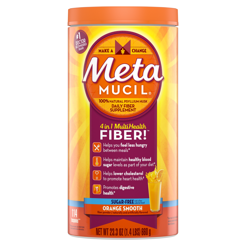 Metamucil Multi-Health Fiber Supplement Powder, 114 Servings, Sugar Free Orange