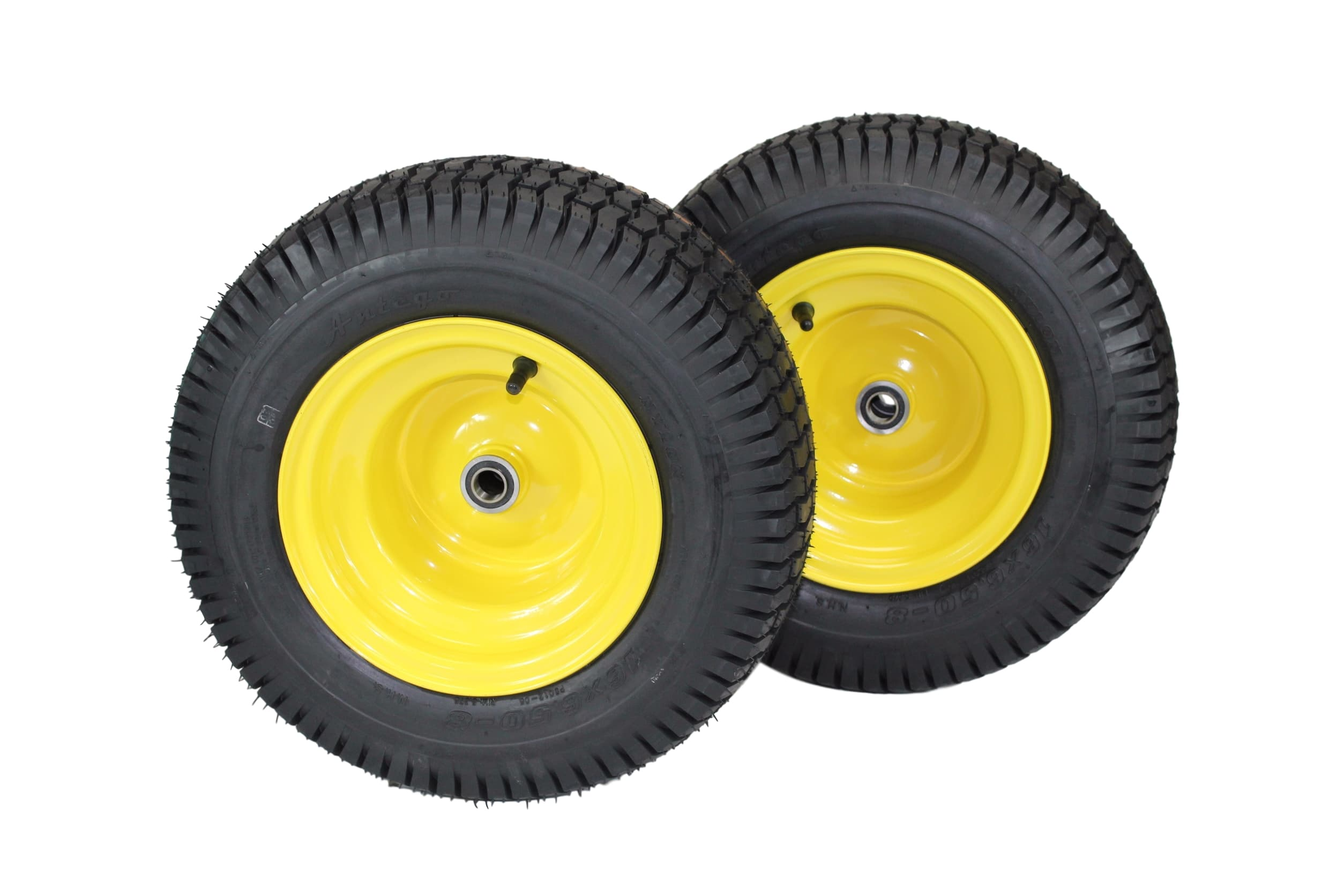"(Set of 2) 16x6.50-8 John Deere Yellow Tires & Wheels 4 Ply for Lawn & Garden Mower Turf Tires .75""... by Antego Tire %26 Wheel"
