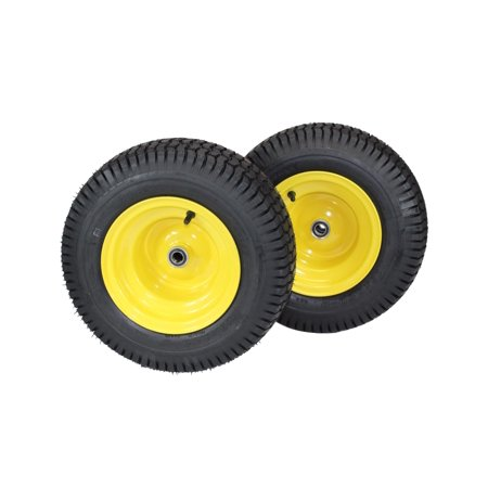 (Set of 2) 16x6.50-8 John Deere Yellow Tires & Wheels 4 Ply for Lawn & Garden Mower Turf Tires .75