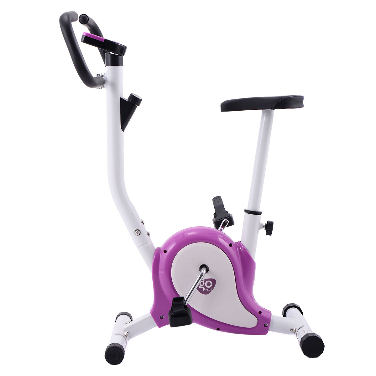 GHP White & Purple Stationary Upright Gym Workout Exercise Bike with LCD Display