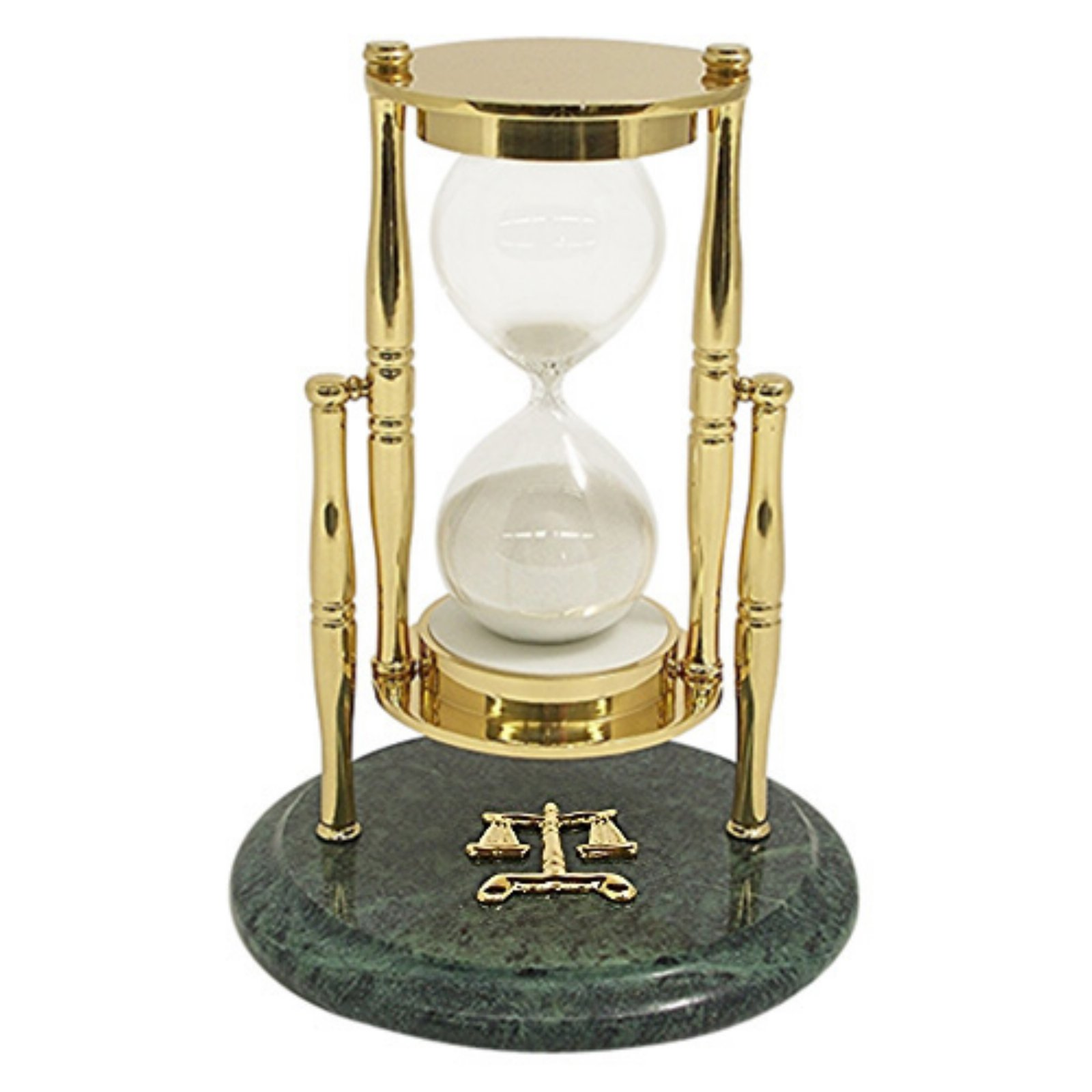 Bey Berk Brass / Green Marble 30 Minute Sand Timer with L...