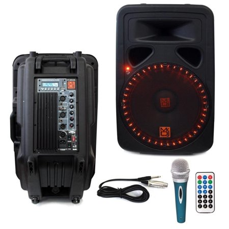 mr dj pp35000led 15 3000 watts bluetooth speaker w led lights fm radio usb sd input lcd. Black Bedroom Furniture Sets. Home Design Ideas