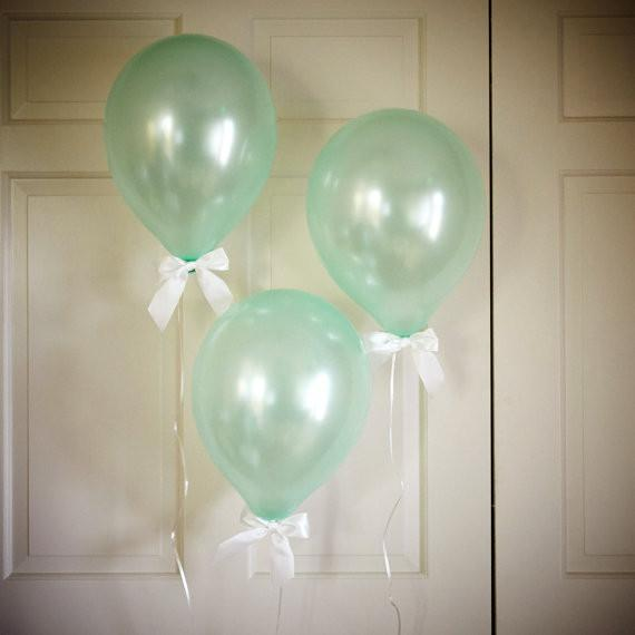 Mint Green Party Decor Balloons with Bows 8CT + Curling Ribbon. Handcrafted in 1-3 Business Days.