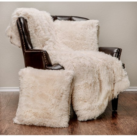 Chanasya 3 Piece Super Soft Gy Throw Blanket Pillow Cover Set Chic Fuzzy Faux Fur Elegant Cozy Fleece Sherpa 50 X65 Two