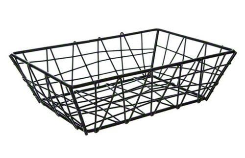 American Metalcraft BZZ95B Small Rectangular Metal Wire Zorro Bread Basket, 9' L x 6' W, Black by