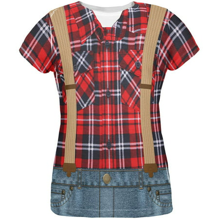 Halloween Lumberjack Costume All Over Womens T Shirt - Lumberjack Womens Halloween Costume