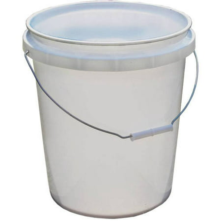 Beige Buckle (Encore Plastics 5-Gallon Pail, White )