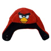 Angry Birds Mens Plush Red & Black Reversable Aviator Trapper Hat