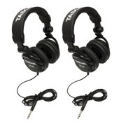 TASCAM TH-02B Foldable Recording Mixing Home Studio Headphones - Black (2 Pair)