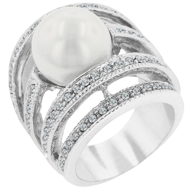 Kate Bissett R07023R-V01-10 Genuine Rhodium Plated Right-hand Fashion Ring with Shell Pearl and Round Cut Clear CZ in a