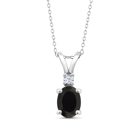 Onyx Vintage Jewelry (1.65 Ct Oval Black Onyx White Created Sapphire 925 Sterling Silver Pendant )