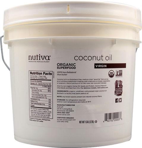 Nutiva Organic Superfood Virgin Coconut Oil, 1 Gallon