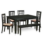 weni6d blk c 6 piece kitchen nook dining set kitchen dinette table. beautiful ideas. Home Design Ideas