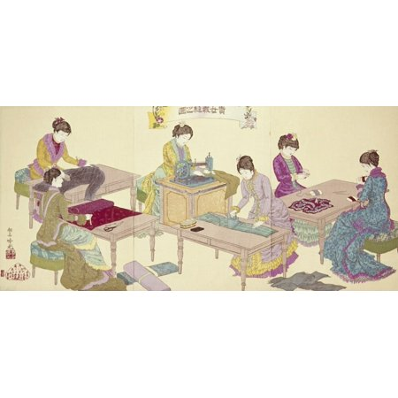 Japan: Sewing Machines. /Njapanese Women Sewing Western Japan Sewing Machines Njapanese Women Sewing Western-Style Dresses Woodblock Print Triptych 1897 By Shosai Ginko Print is a licensed reproduction that was printed on Premium Heavy Stock Paper which captures all of the vivid colors and details of the original. The available sizes and options for this image are listed above. Ready for framing or hanging. Our poster print is the perfect touch to accentuate any home or office space.