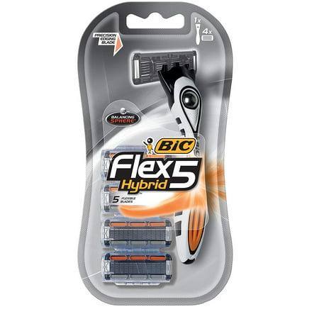 Bnc Thin (Bic Flex 5 Hybrid 5 Flexible Blade Razor with 4 Refill Blade Cartridges)