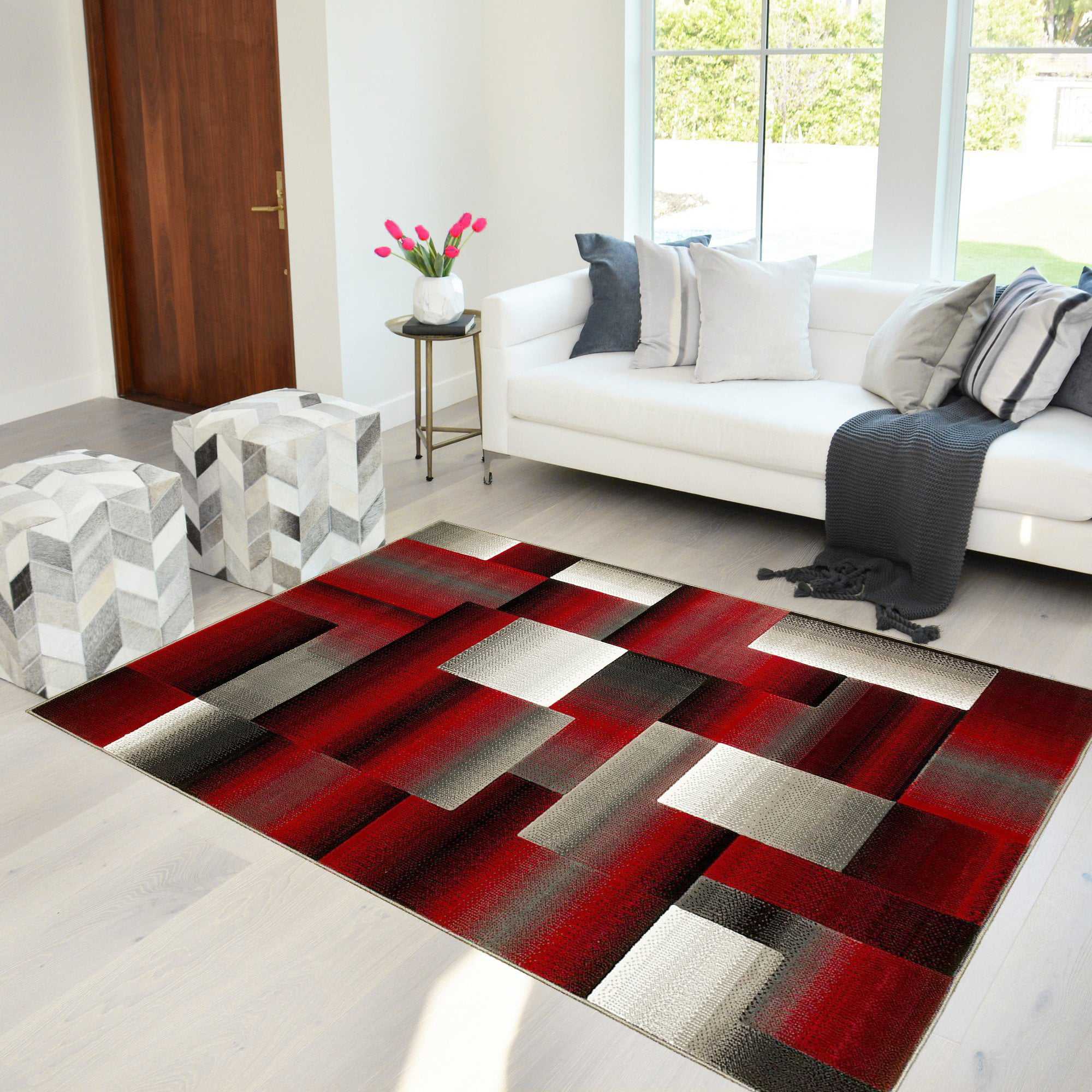 Handcraft Rugs Red Black Gray Abstract Geometric Modern Squares Pattern Area Rug 5 Ft By 7 Ft Walmart Com Walmart Com
