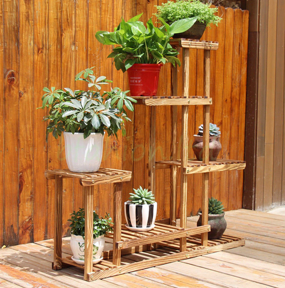 6 Tier Wooden Bamboo Plant Stand Indoor Outdoor Planter Flower Pot