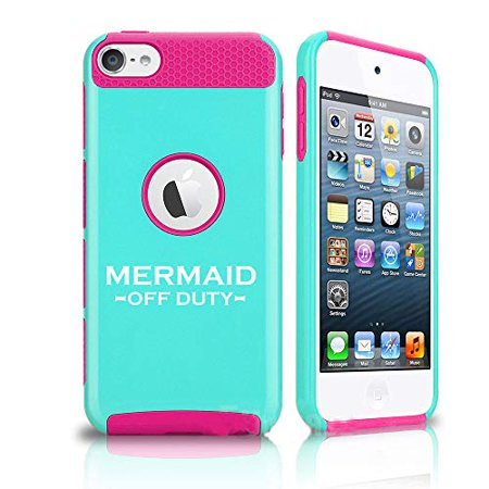 Off Apple Ipod - Shockproof Impact Hard Soft Case Cover for Apple (iPod Touch 5th / 6th) Mermaid Off Duty (Light Blue-Hot Pink)