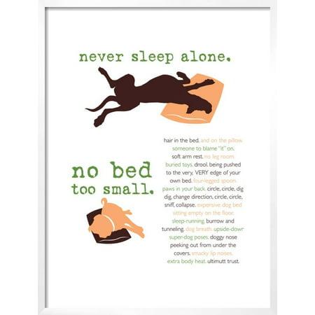 Never Sleep Alone Framed Art Print Wall Art By Dog is Good