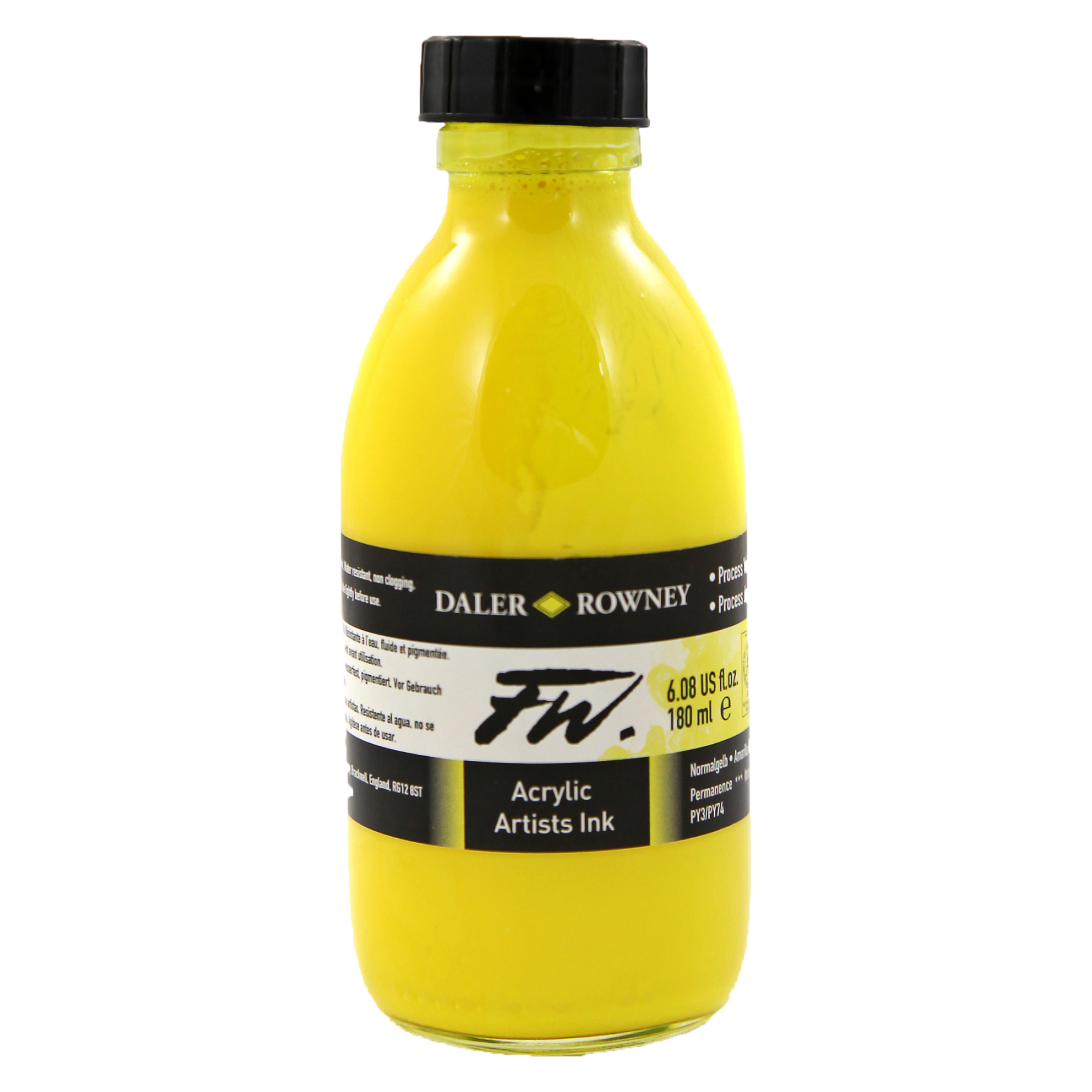 Daler-Rowney FW Acrylic Artists Ink, 6 oz. Bottle, Process Yellow