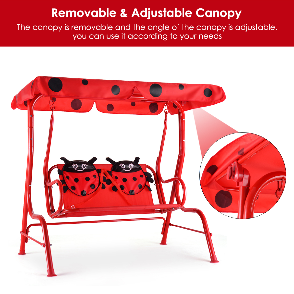 Kids Patio Swing Chair Children Porch Bench Canopy 2 Person Yard Furniture red - image 9 of 10