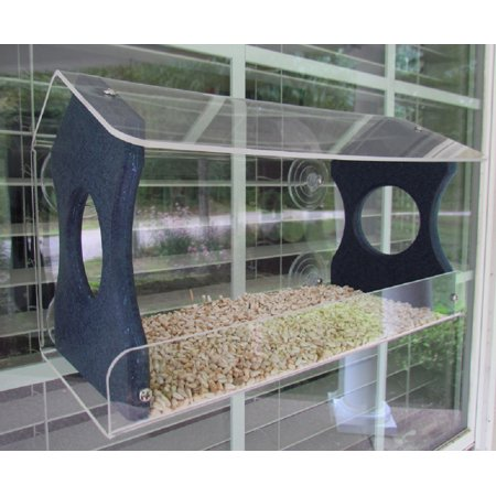 Window Bird Feeder by JCs Wildlife Holds 4 Cups Blue Recycled Poly Free Shipping ()