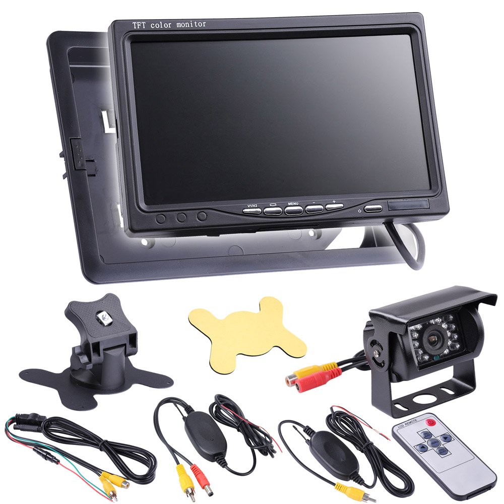 "Yescom 12V Car Rear View Reverse Backup Waterproof Camera+7"" TFT LCD Monitor+Wireless Remote Kit DVD Player"